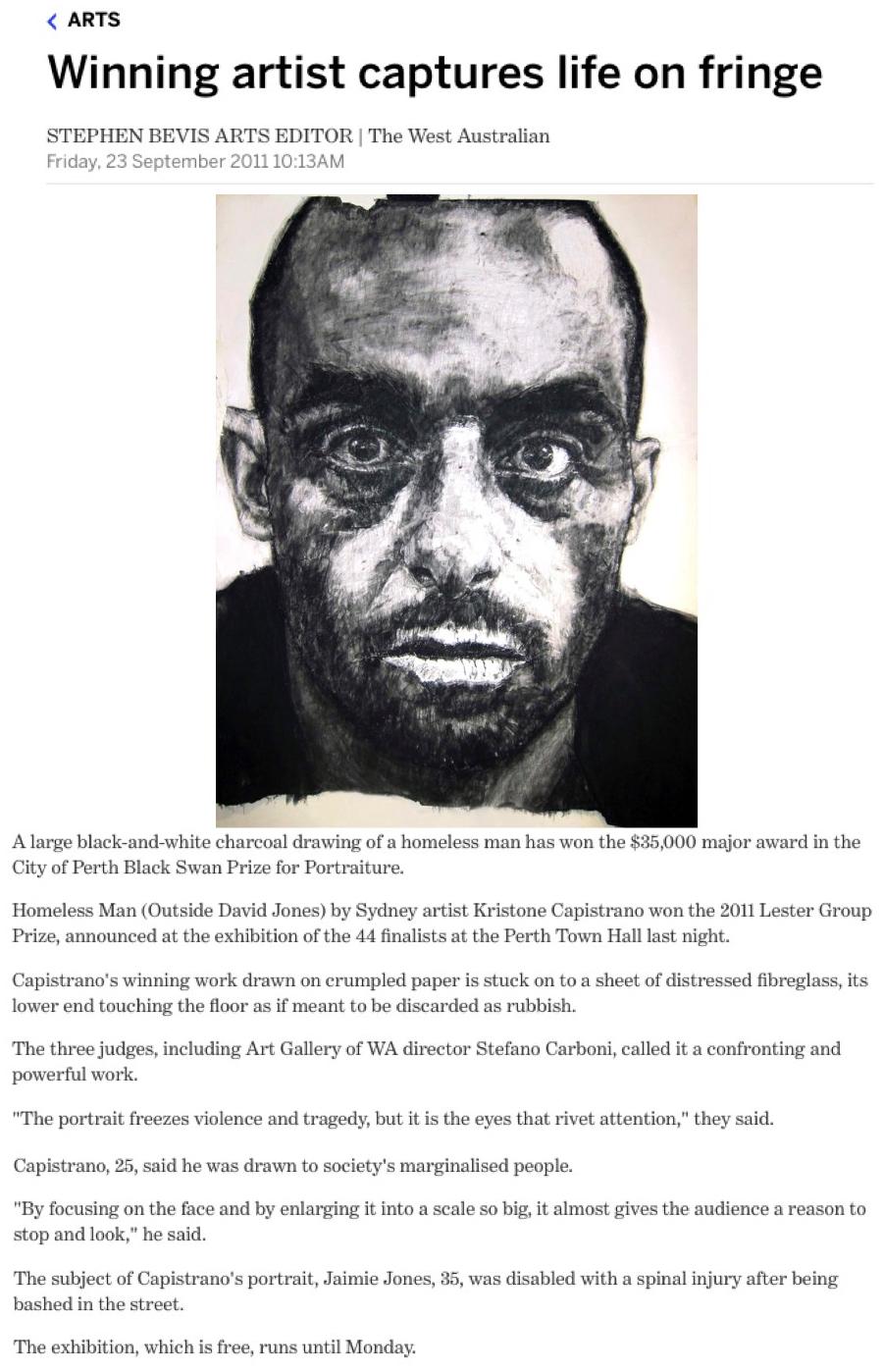 Black Swan Portraiture Prize Kristone Capistrano Charcoal Drawing