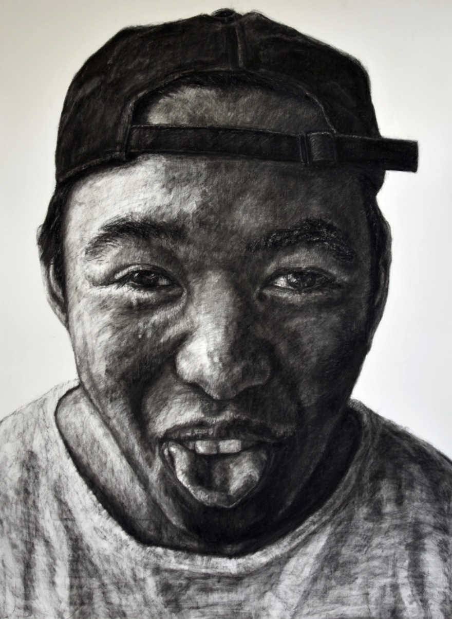 Younger Brother Portrait Kristone Capistrano Charcoal