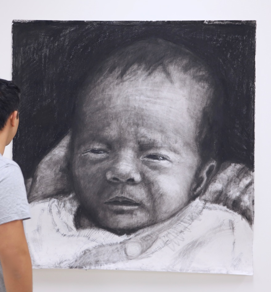 The Newborn Kristone Capistrano Charcoal Art Drawing Artist
